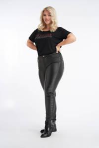 MS Mode coated skinny broek met studs zwart, Zwart