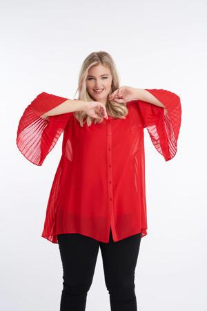 semi-transparante blouse met vleermuismouwen rood