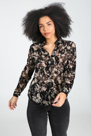 semi-transparante blouse met glitters ecru/zwart
