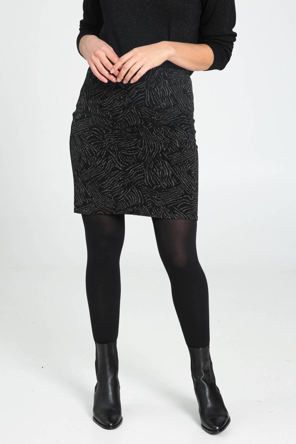 Cassis rok met dierenprint en glitters zwart/multi, Zwart/multi