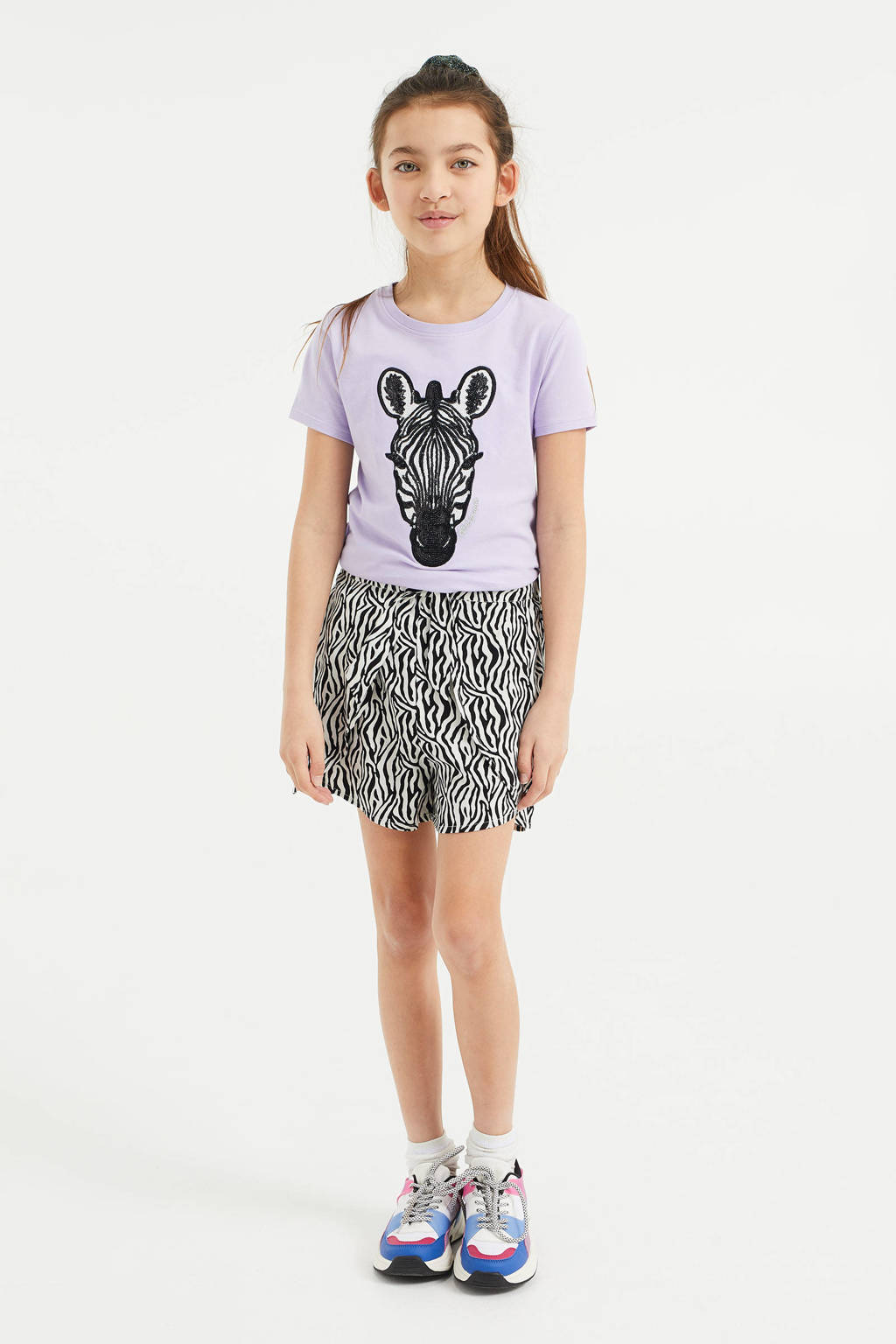 WE Fashion T-shirt met printopdruk en pailletten lila/zwart/wit, Lila/Zwart/Wit