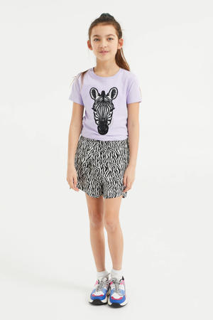 T-shirt met printopdruk en pailletten lila/zwart/wit