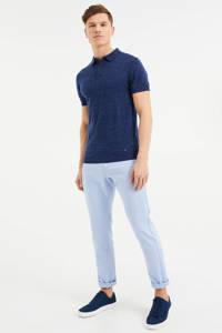 WE Fashion gemêleerde slim fit polo royal navy, Royal Navy