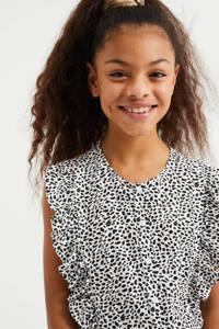 WE Fashion jumpsuit met panterprint ecru/zwart, Ecru/zwart