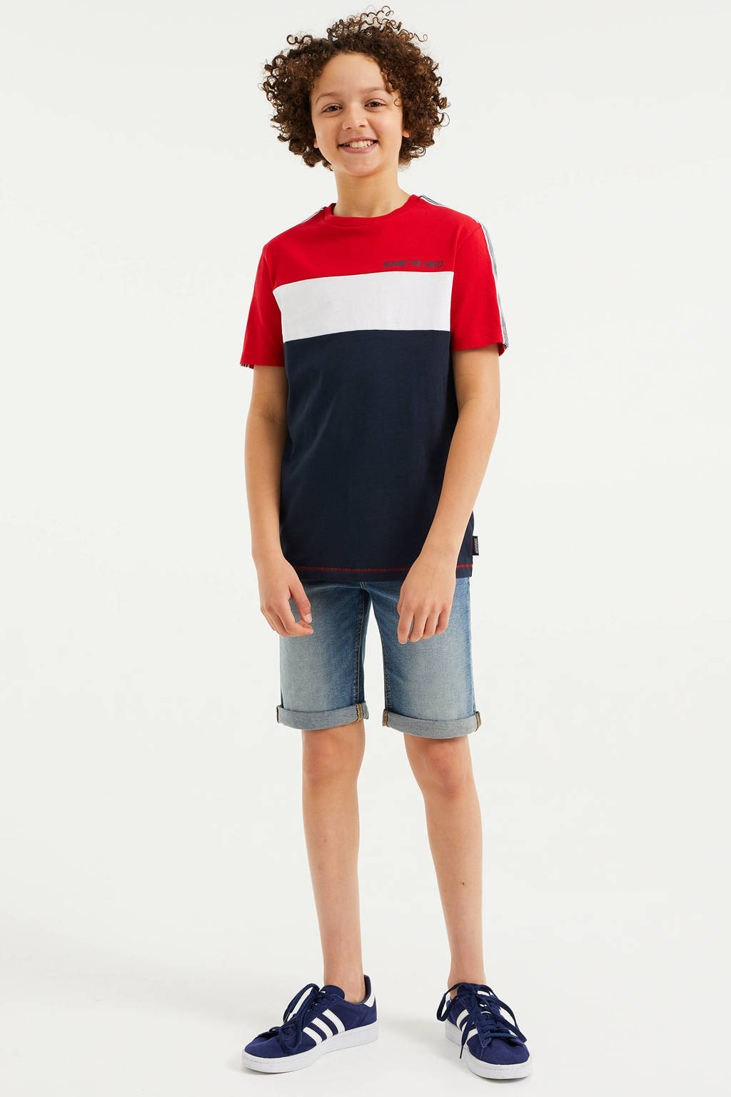 WE Fashion T-shirt rood/wit/donkerblauw, Rood/wit/donkerblauw