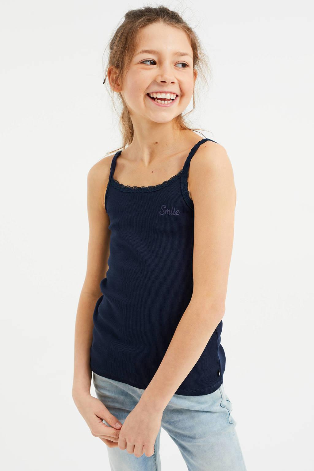 WE Fashion singlet met kant - set van 3 blauw/donkerblauw/wit, Blauw/donkerblauw/wit