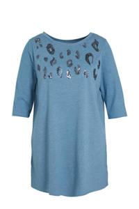 C&A XL Yessica T-shirt met printopdruk en pailletten blauw/zwart, Blauw/zwart
