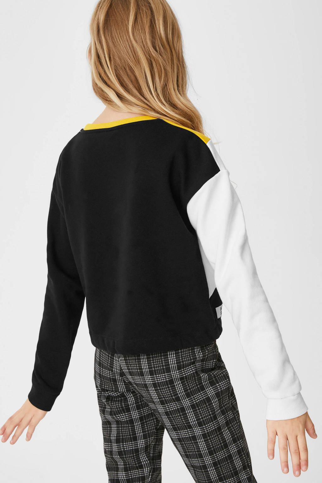 C&A Here & There sweater okergeel/zwart/wit, Okergeel/zwart/wit