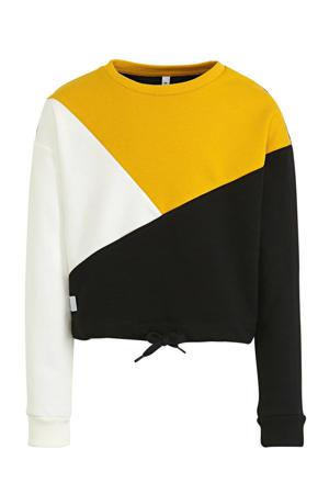 sweater okergeel/zwart/wit