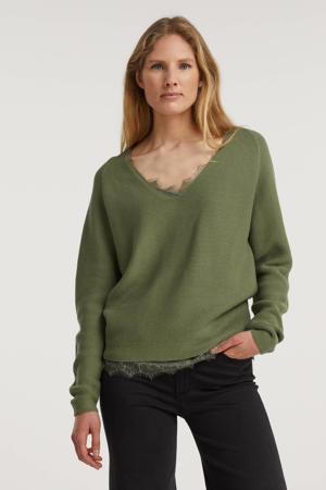 ribgebreide trui Stinea van biologisch katoen groen