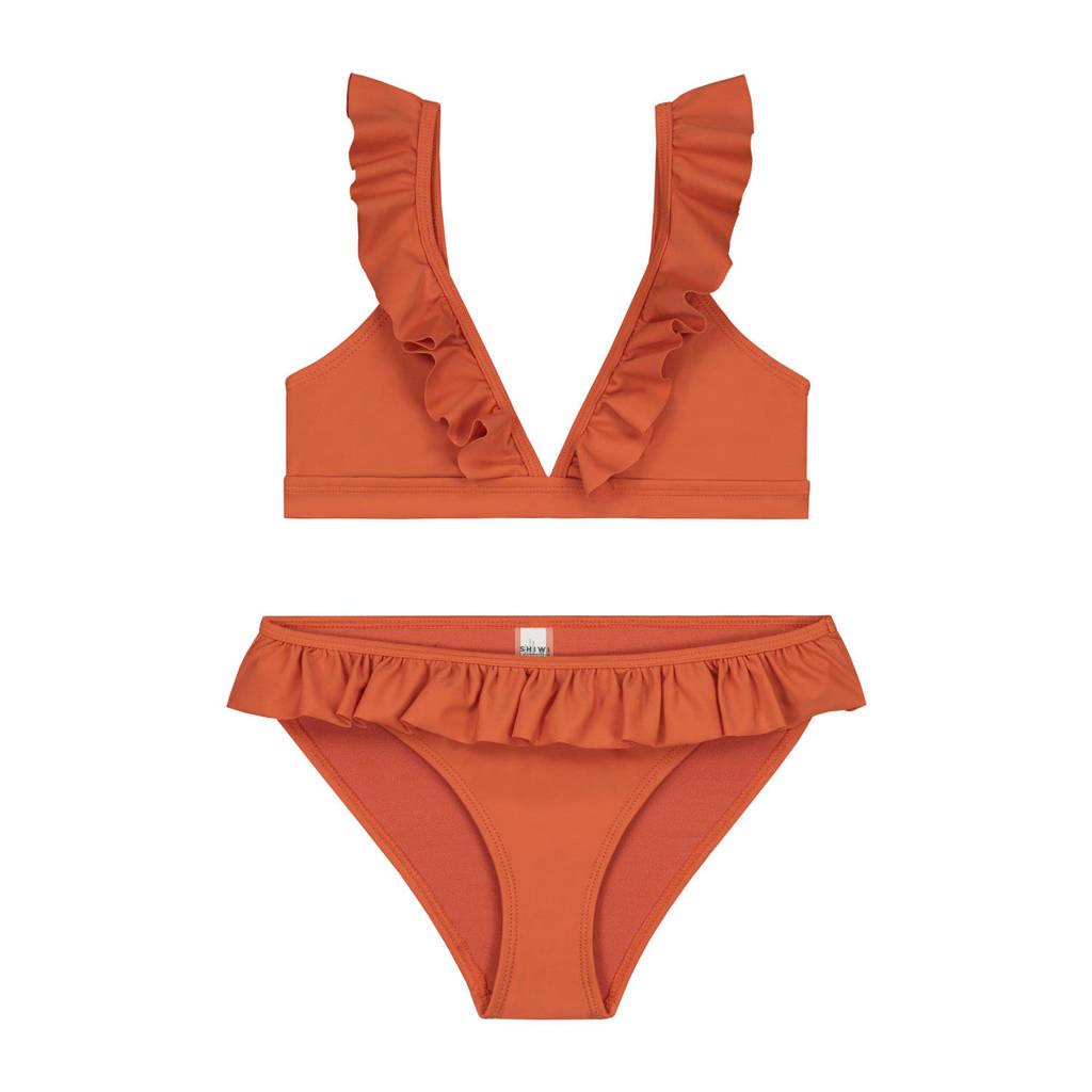 Shiwi triangel bikini Panama met ruches oranje, Oranje