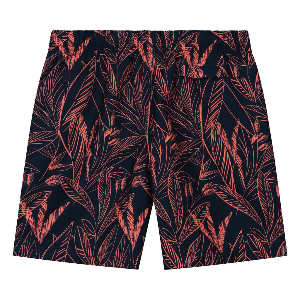 Shiwi zwemshort Scratched Leaves donkerblauw/neon oranje