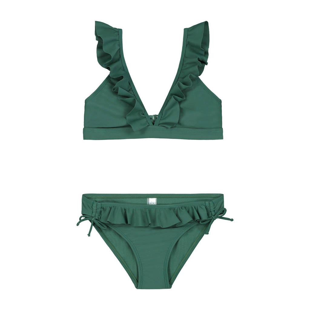 Shiwi triangel bikini Panama met ruches groen, Groen