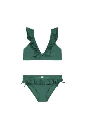 triangel bikini Panama met ruches groen