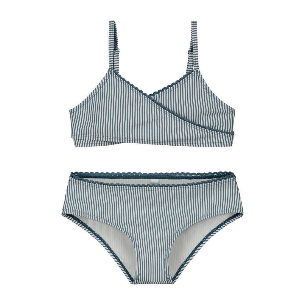 Shiwi gestreepte crop bikini Cote D'Azur blauw/wit, Blauw/wit