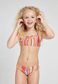 Shiwi crop bikini Marble met all over print oranje/geel, Oranje/geel