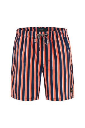 gestreepte zwemshort oranje/donkerblauw