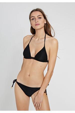 triangel bikini met panter flockprint zwart