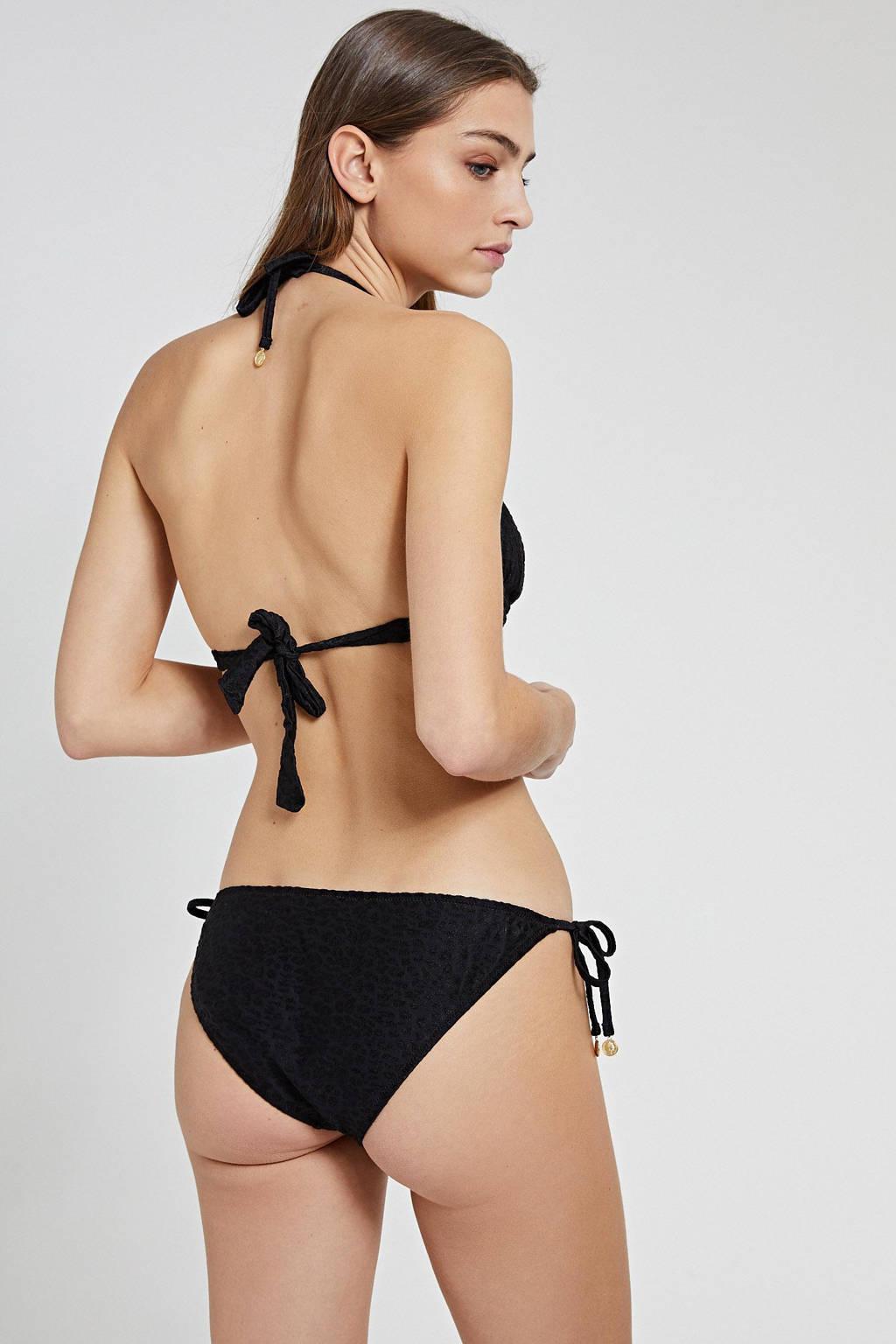 Shiwi triangel bikini met panter flockprint zwart, Zwart
