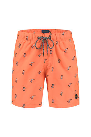 zwemshort met Snoopy print neon oranje