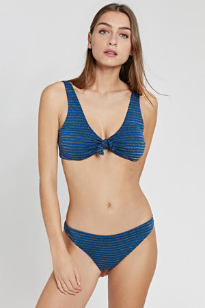 gestreepte bikinitop Endless Summer donkerblauw/goud