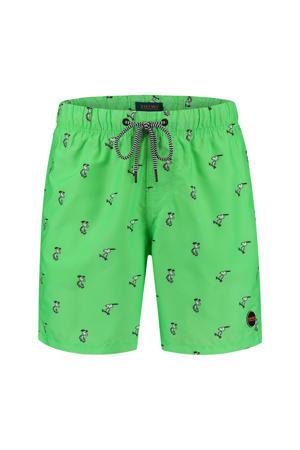 zwemshort met Snoopy print neon groen