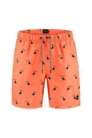 zwemshort met tucan print neon oranje