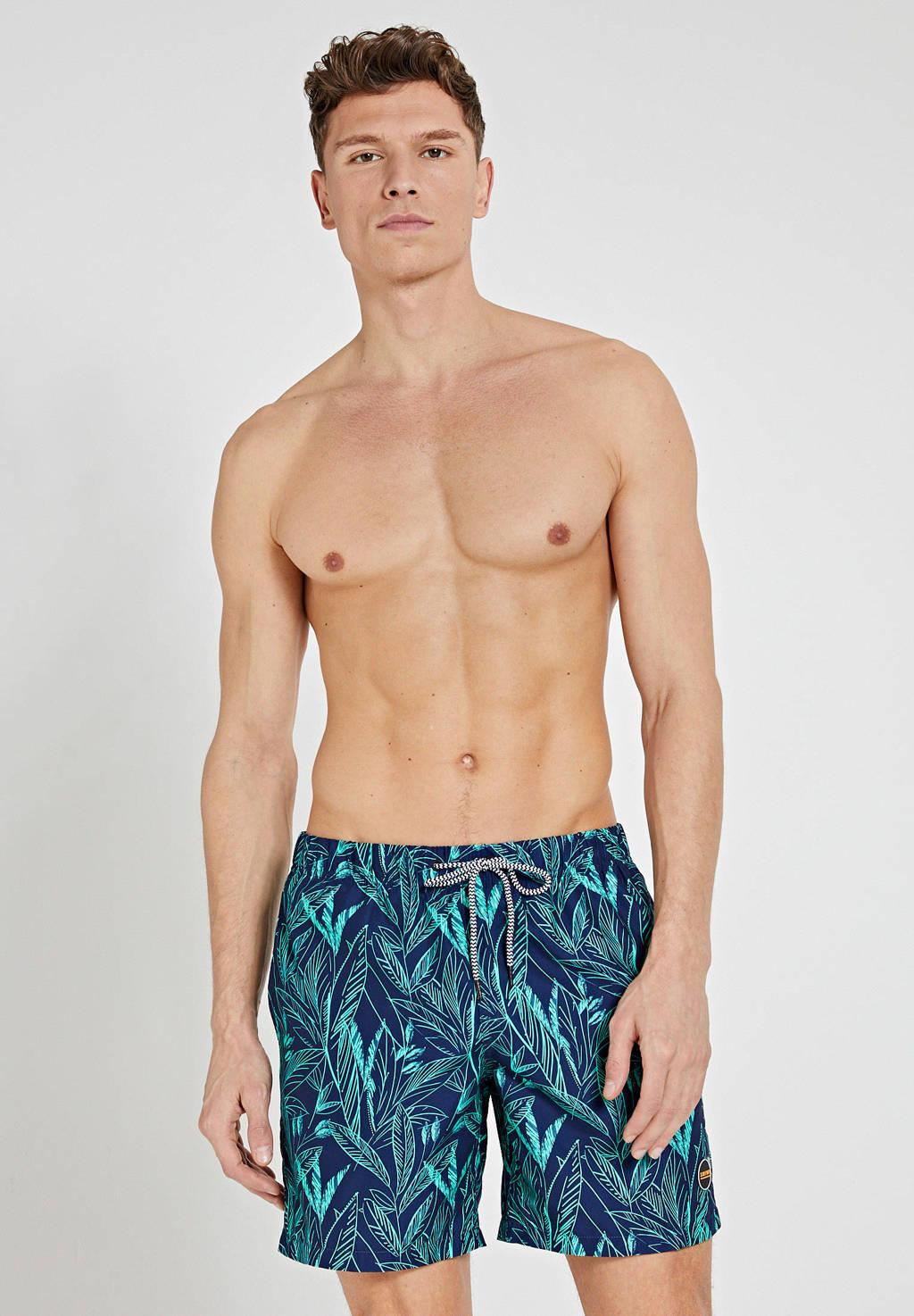 Shiwi zwemshort met all over print donkerblauw/groen, Donkerblauw/groen