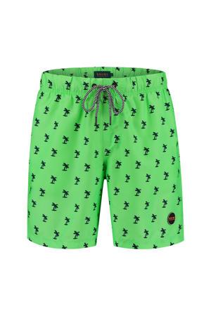 zwemshort met palmboom print neon groen