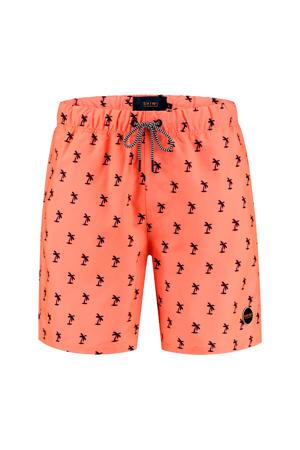 zwemshort met palmboom print neon oranje