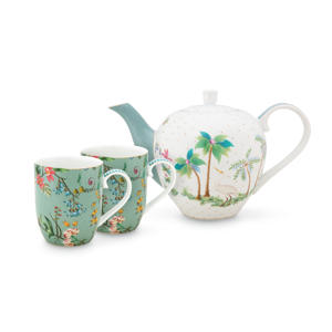 Set/3 Tea Set Small Jolie Flowers Blue