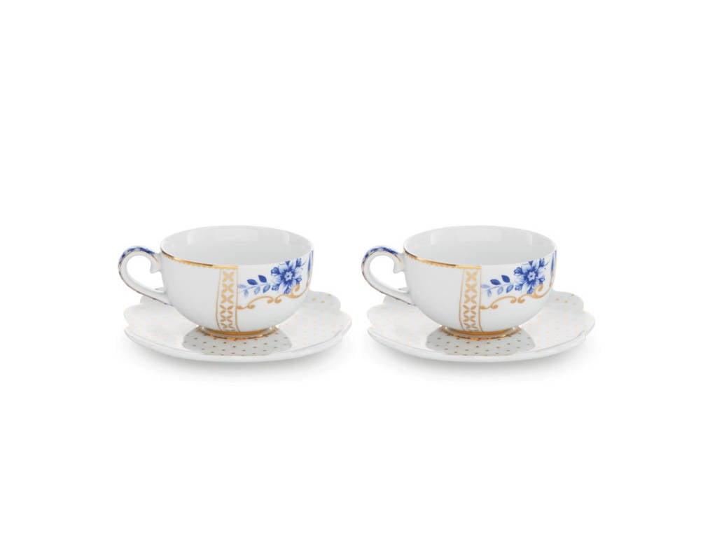 Pip Studio Set/2 Espresso Cups & Saucers Royal White 125ml