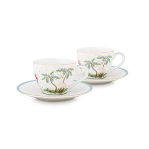 Set/2 Espresso Cups & Saucers Jolie Dots Gold 120ml