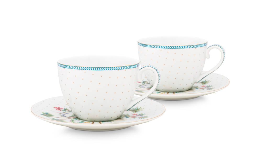 Pip Studio Set/2 Cups & Saucers Jolie Dots Gold 280ml, White