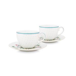 Set/2 Cups & Saucers Jolie Dots Gold 280ml