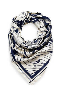 Scotch & Soda sjaal met all-over print donkerblauw/wit, Donkerblauw/wit