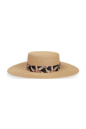 strooien hoed met lint beige