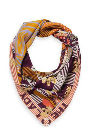 zijde sjaal met all-over print bruin