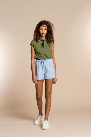 loose fit short bleached denim