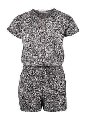 jumpsuit met all over print zwart/ecru