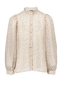 Geisha blouse met sterren ecru/bruin, Ecru/bruin