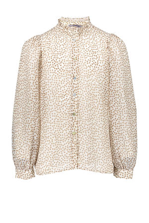 blouse met sterren ecru/bruin