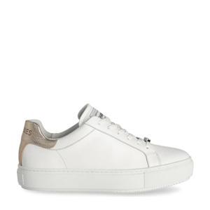 leren sneakers wit/goud