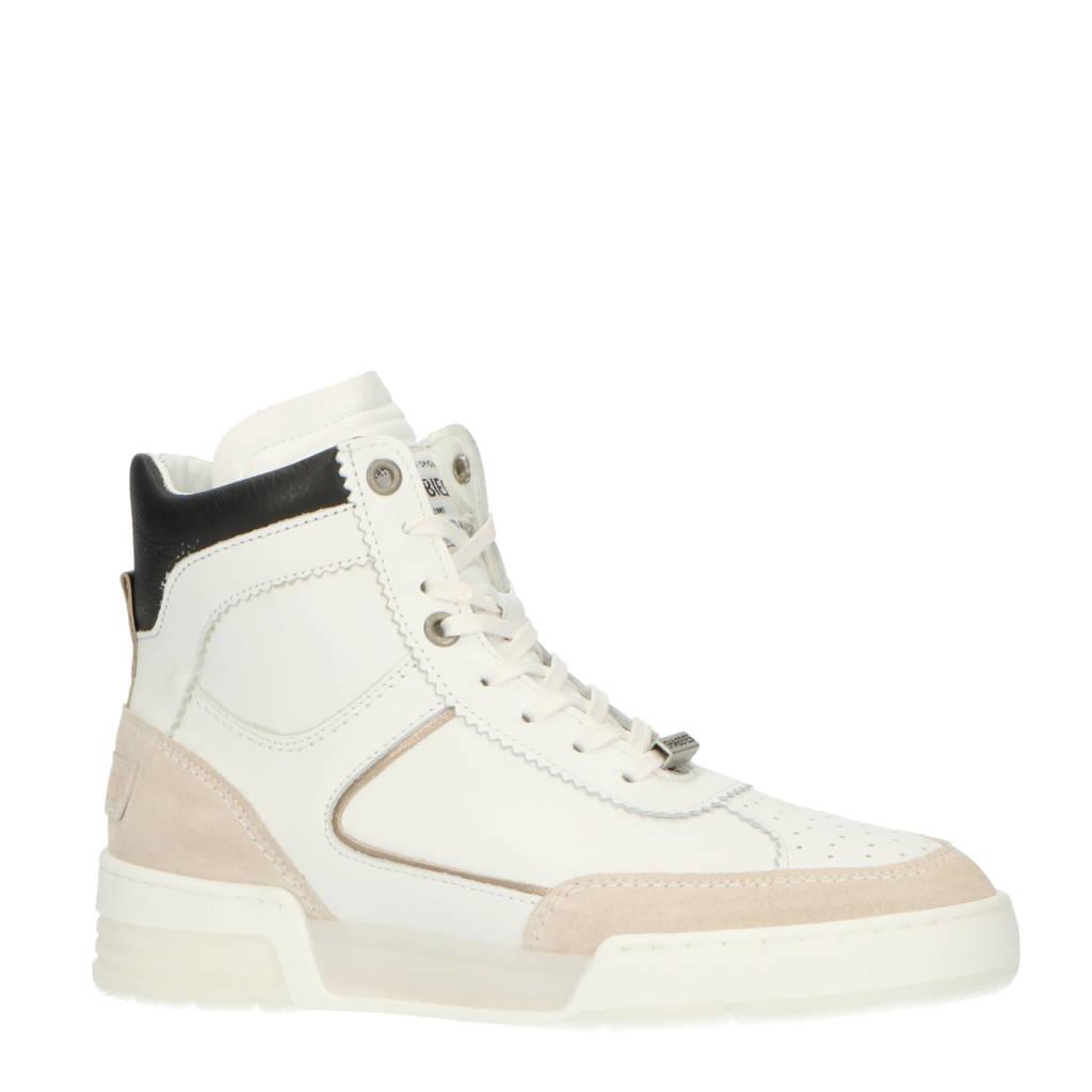 Shabbies Amsterdam   hoge leren sneakers wit, Wit