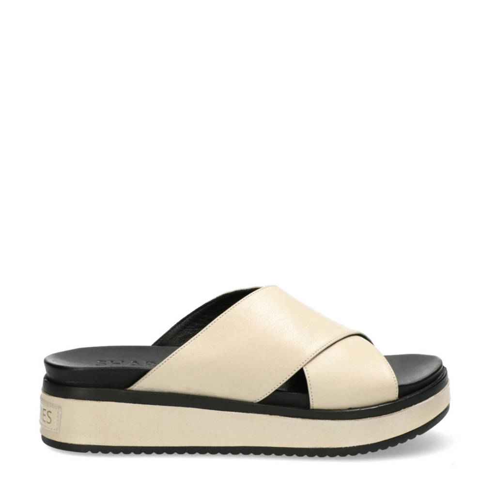 Shabbies Amsterdam   leren plateau slippers off white, Wit/Off white