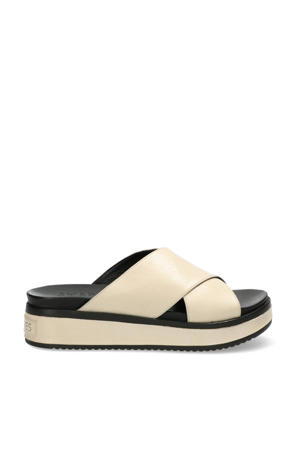leren plateau slippers off white