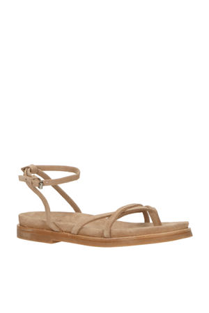 suède sandalen bruin