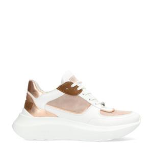 leren chunky sneakers wit/beige/koper