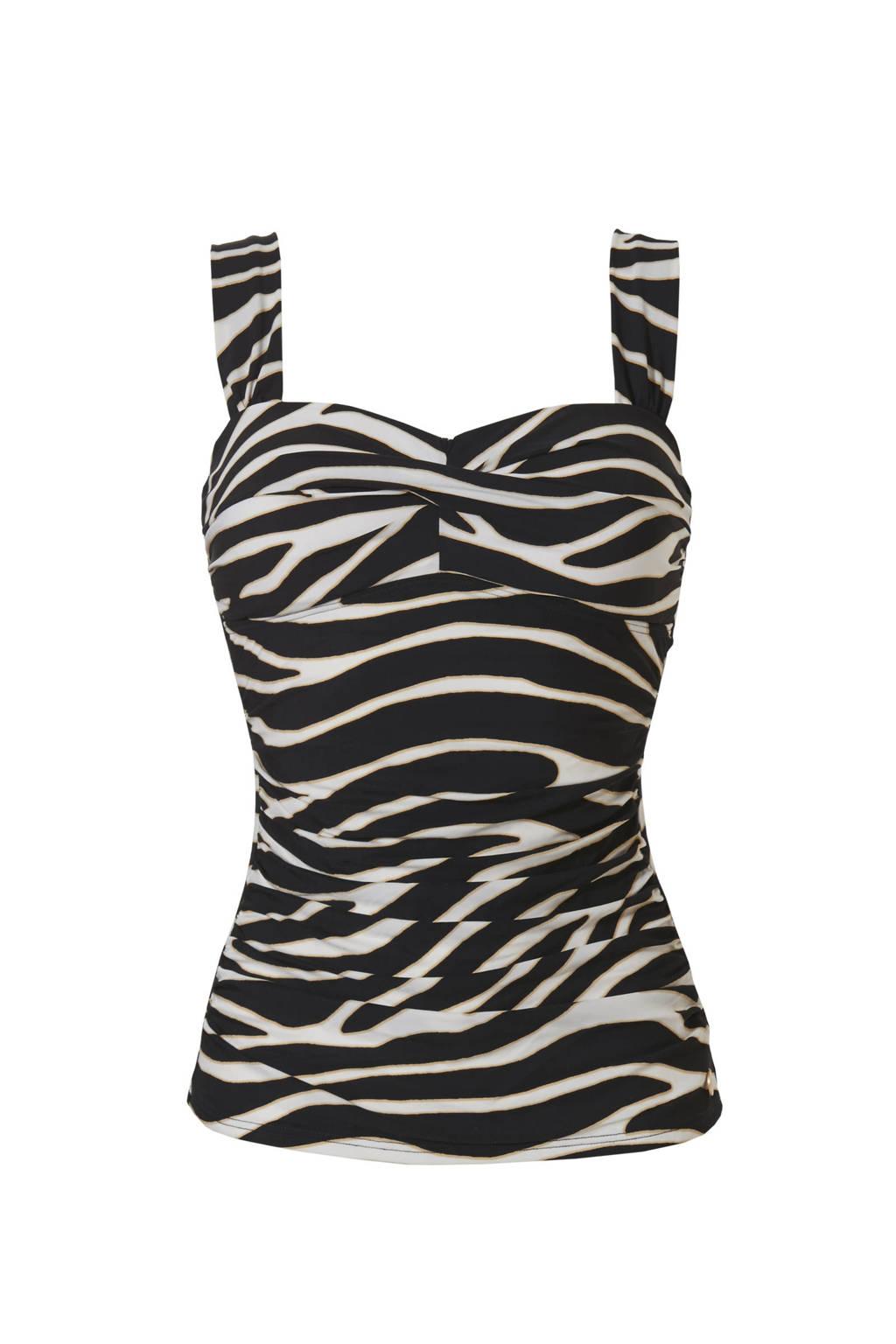 TC WOW tankini bikinitop met zebraprint zwart/wit, Zwart/wit