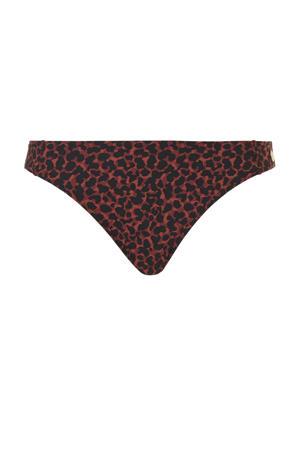 bikinibroekje met panterprint rood/zwart
